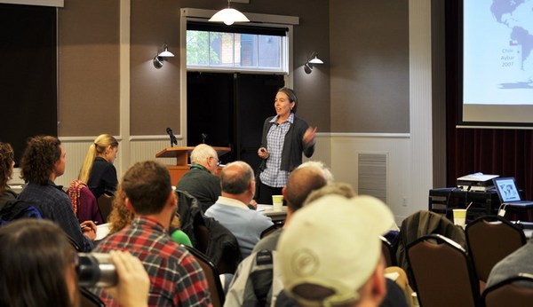 Dr. Kerri Steenwerth speaking at On the Road in Napa Valley.