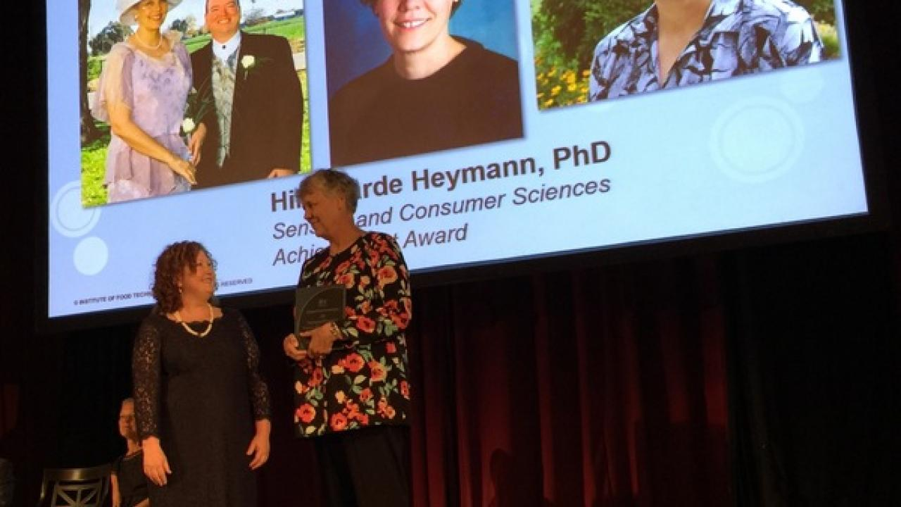 Professor Hildegarde Heymann receives her award