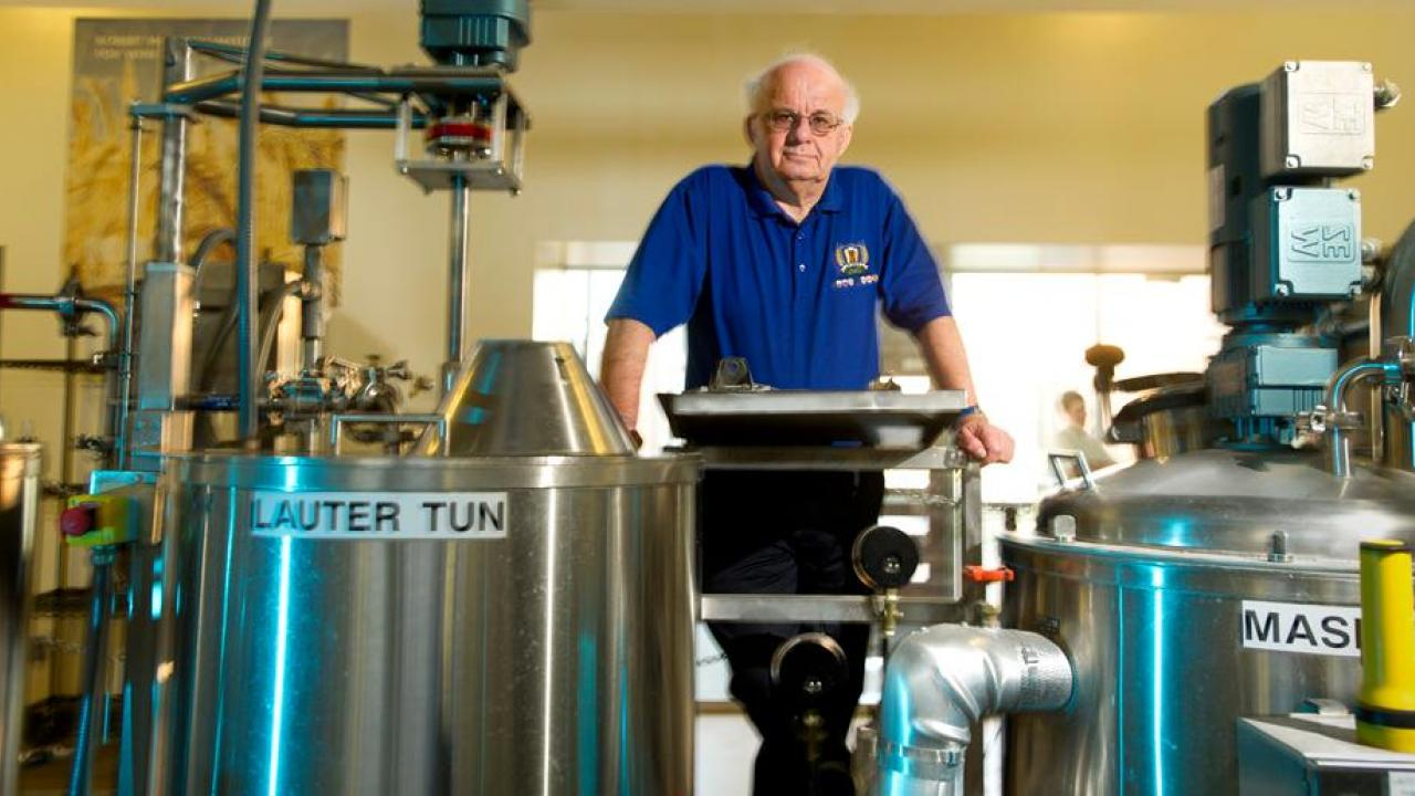 Dr. Bamforth in the brewery