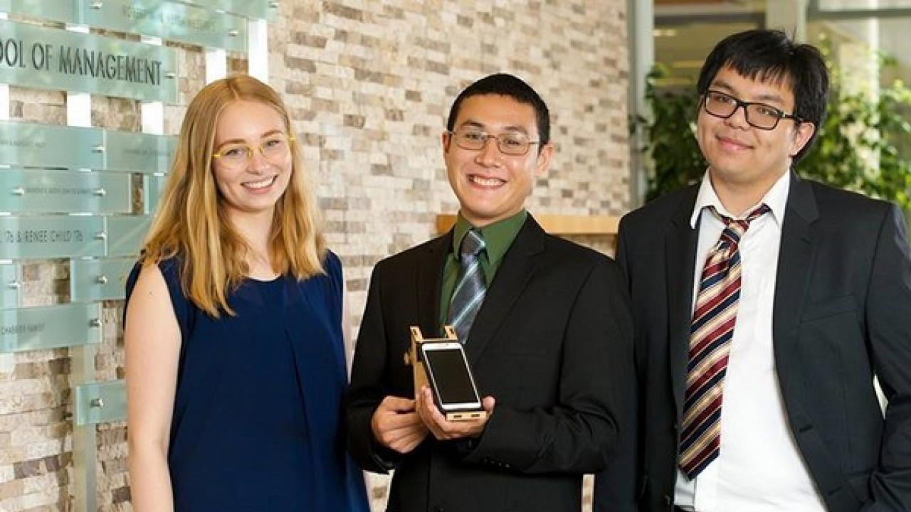 Chromatiscope co-founders Lisa Illes (EBS '19), Alex Godbout (BME '16), and Nick Dao (BME '16)