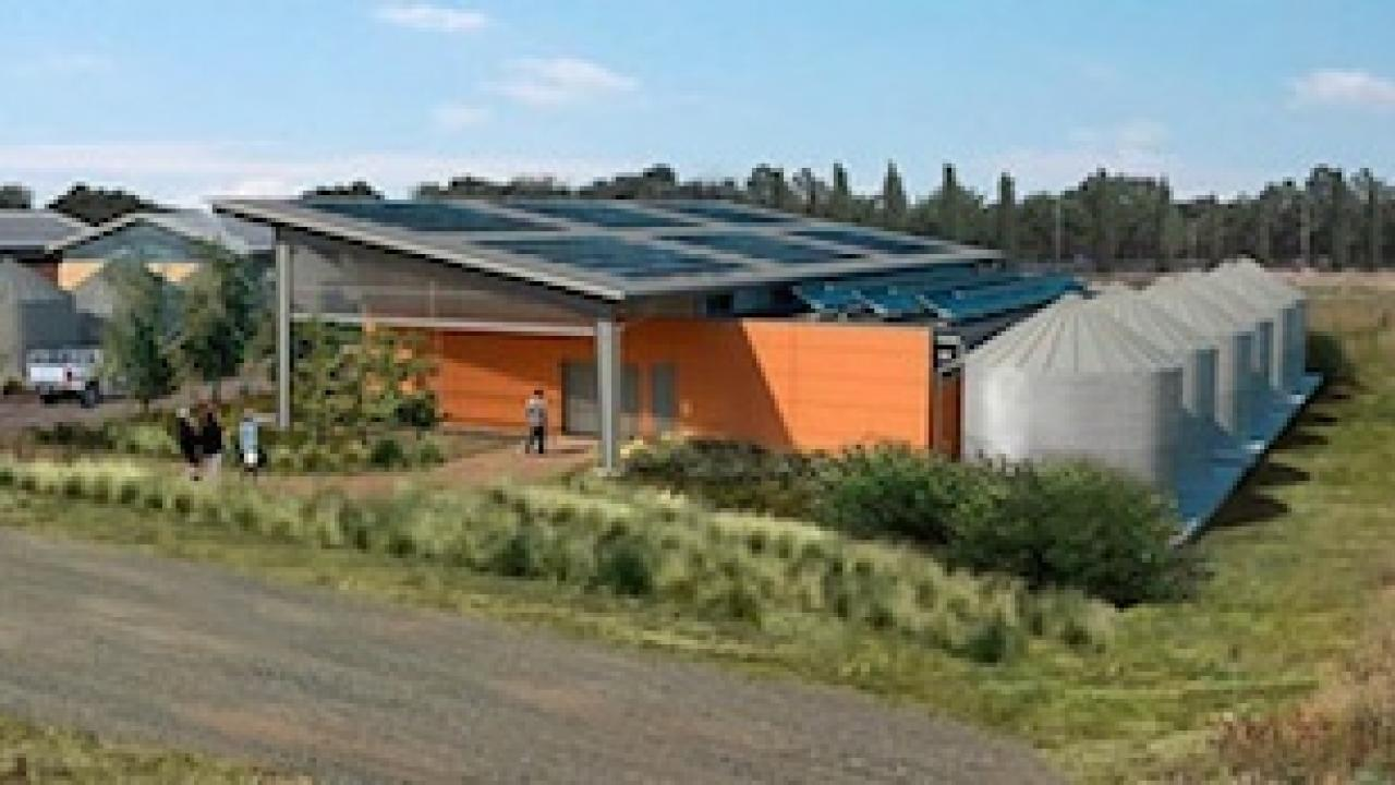 The award-winning Jess Jackson Sustainable Winery Building, looking east.
