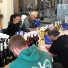 students tasting wine